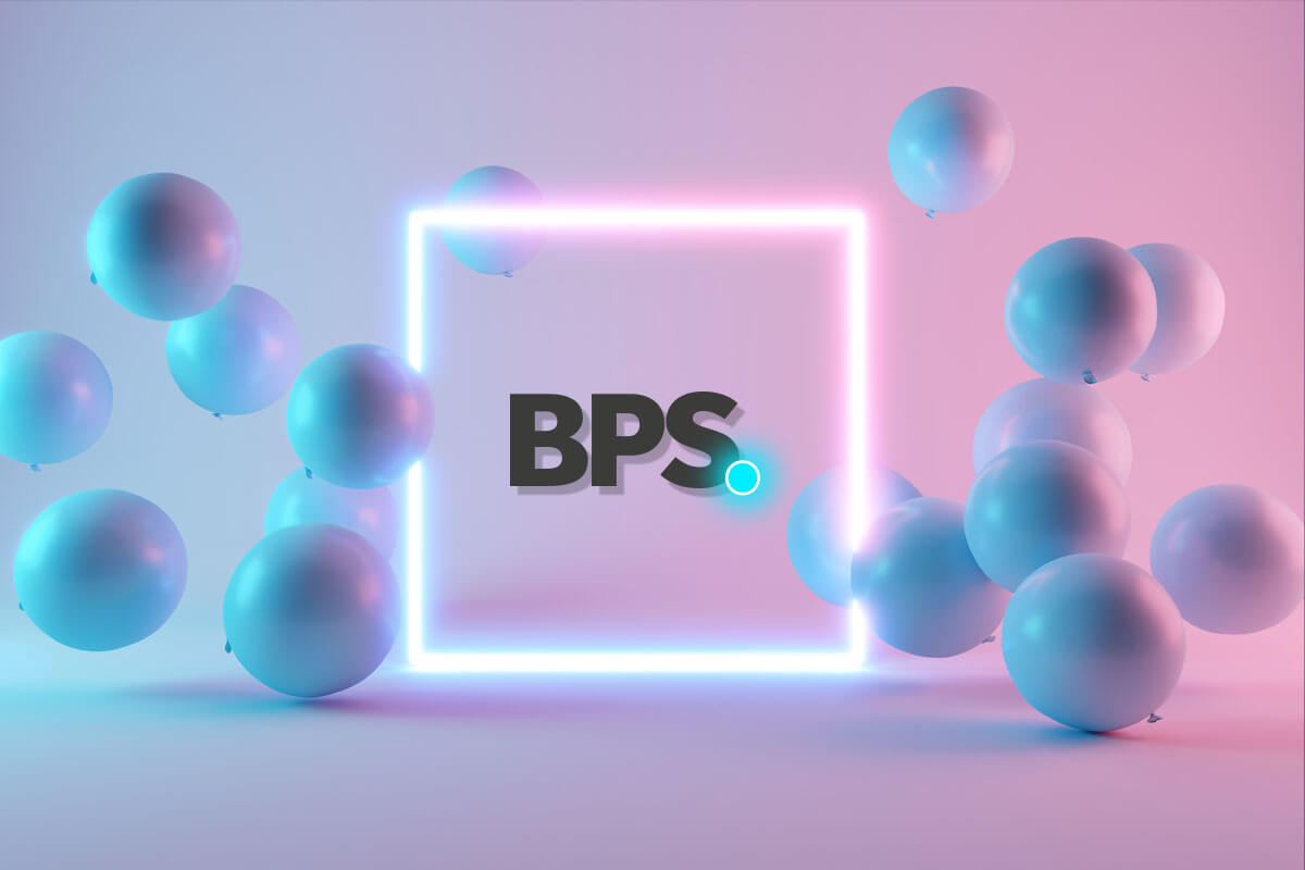 BPS logo in glowing square with blue balls